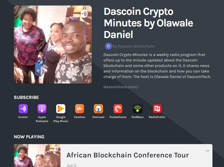 Dascoin Crypto Minutes podcast heading